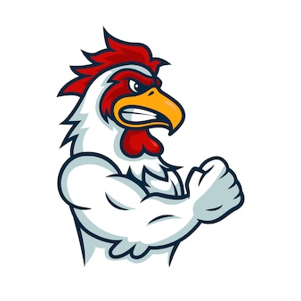 Angry rooster mascot logo illustration