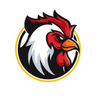 Злой петух талисман логотип Premium векторы