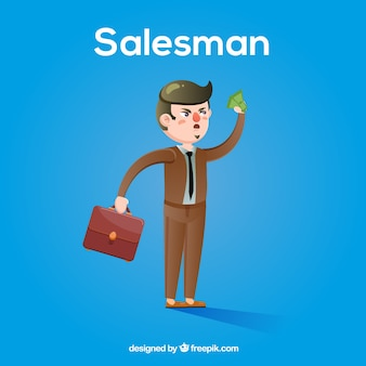 Angry salesman character with flat design