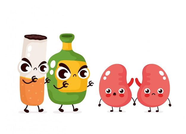 Злой страшный алкоголь бутылка и сигарета убивают почки характер. плоский мультфильм иллюстрации значок дизайн. изолированные на белом фоне. алкоголизм и дым убивают почки