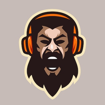 Angry scream man with beard and headphones