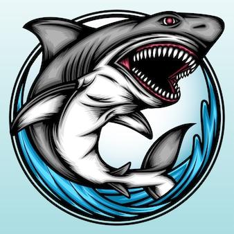 Angry shark fish on the sea.
