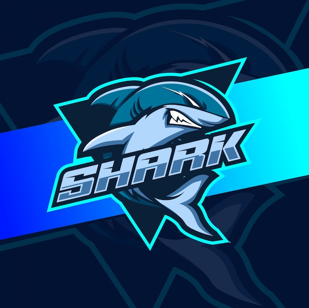 Angry shark mascot esport logo design