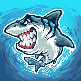 Angry shark with scar on his face isolated