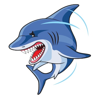 Angry sharks cartoon