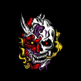 Иллюстрация злой череп монстра