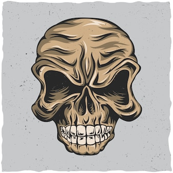 Angry skull poster with beige and grey colors