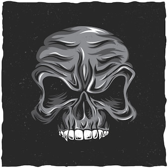Angry skull poster with white and grey colors illustration