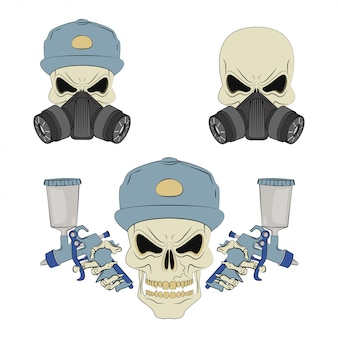 Angry skull in respirator.