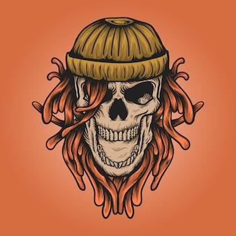 비니 모자를 사용하는 화난 해골