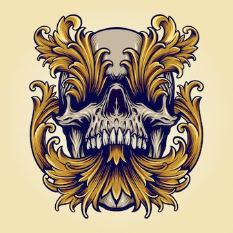 Angry skull victorian gold ornaments illustrations