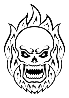Angry skull with fire outline silhouette