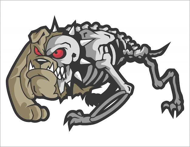 Angry skully bulldog monster vector