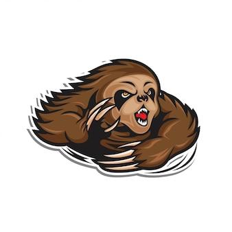 Angry slow loris illustration  sticker