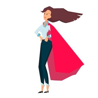Злой стоя бизнесвумен в красном пальто цвет плоский векторный мультфильм