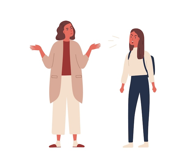 Angry teenager girl with backpack shout to mother vector flat illustration. mad female adolescent dispute and scream have disagreement to mom isolated on white. conflict between parent and child.