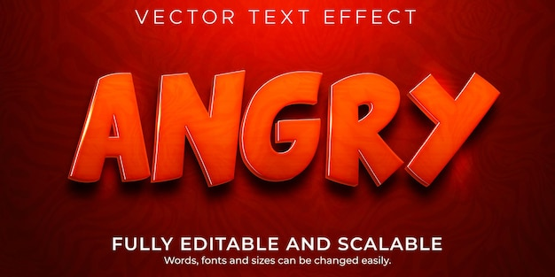 Angry text effect, editable red and fire text style