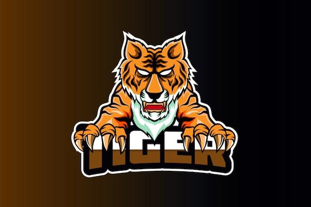 Шаблон логотипа злой тигр и спорт