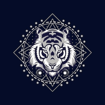Сердитый тигр лицо векторные иллюстрации