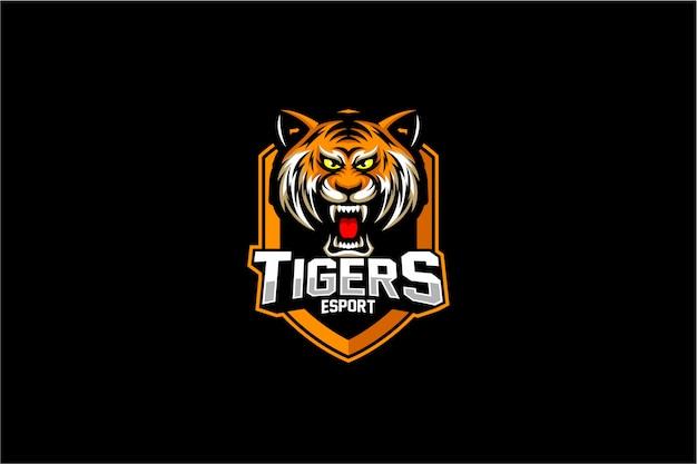 Angry tiger head emblem logo