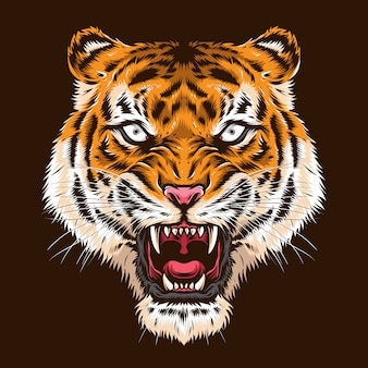 Angry tiger head  logo