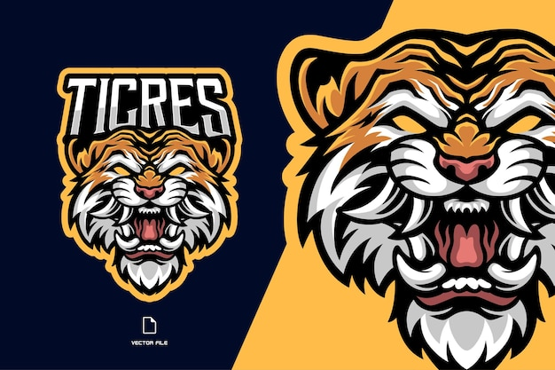 Angry tiger head mascot esport game logo for sport team