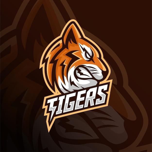 Angry tiger head mascot esport logo design