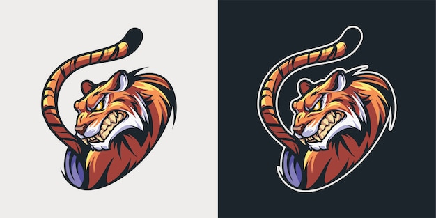 怒っている虎の頭のマスコットイラストeスポーツ