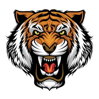 Angry tiger head mascot isolated on white