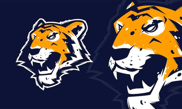 Злая голова тигра премиум логотип вектор талисман иллюстрация