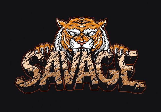 Angry tiger holding savage lettering