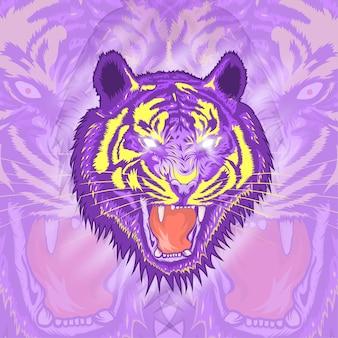 怒っている虎のイラストデザイン