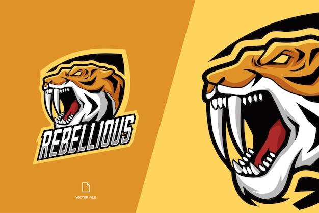 スポーツチームの怒っているトラマスコットゲームのロゴ