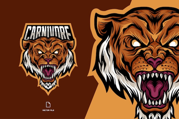 Angry tiger mascot sport logo illlustration template