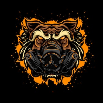 Angry tiger vintage logo style with mask