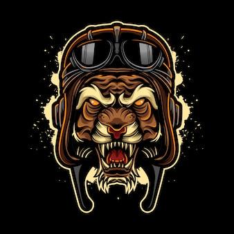パイロットヘルメットと怒っている虎ビンテージロゴスタイル