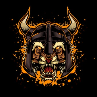 Angry tiger vintage logo style with viking helmet