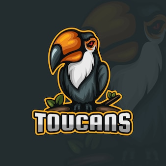 Angry toucan sitting on a branch esport mascot logo