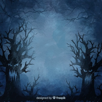 Angry trees at night halloween background