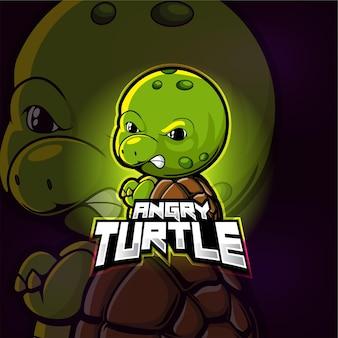 Angry turtle mascot esport logo design