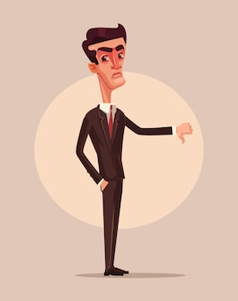 Angry unhappy businessman office worker consumer showing thumbs down. dislike sign.  flat cartoon illustration