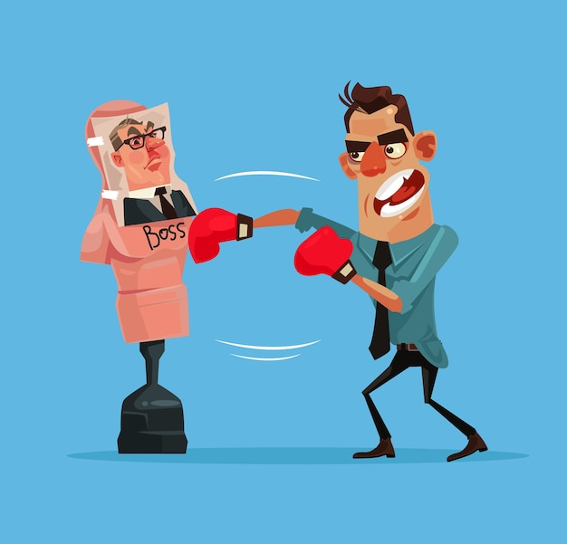 Angry upset office worker man character beats boxing mannequin with boss photo Premium Vector