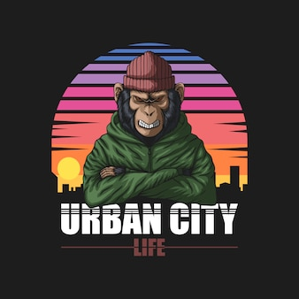 Angry urban monkey retro