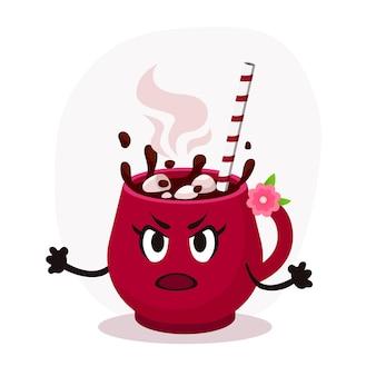 Сердитый вектор плоской рождественской розовой чашки иллюстрации. горячий кофе с зефиром. векторная иллюстрация