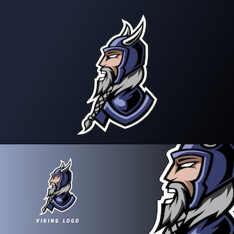 Angry viking gaming sport esport logo template with armor, helmet, thick beard and mustache