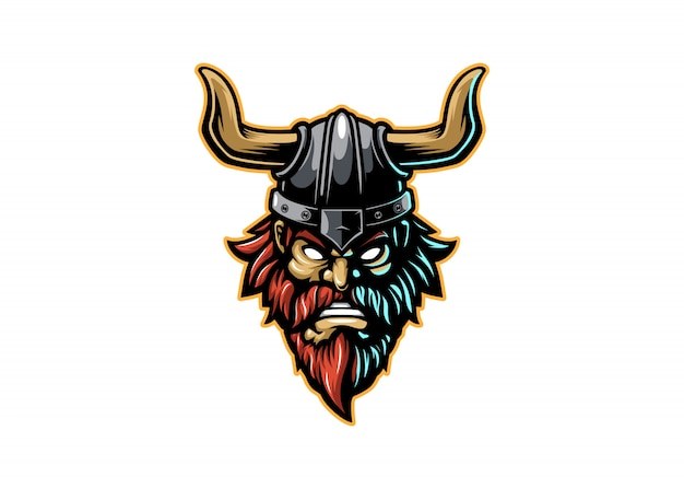 Angry viking head