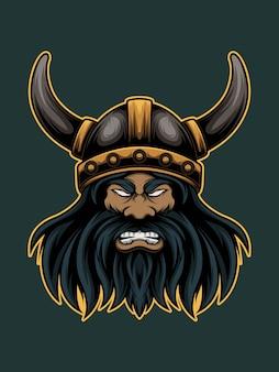 Angry viking mascot illustration