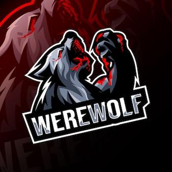 Angry werewolf mascot logo esport template