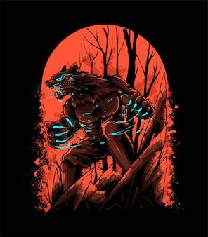 T-셔츠, 의류, 인쇄 및 상품 제품에 적합한 붉은 혈액 달 벡터 일러스트 레이 션에 화난 늑대 인간