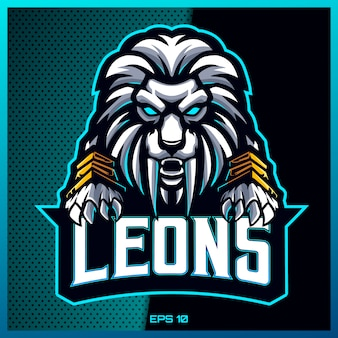 Angry white lion grab text esport and sport mascot logo design in modern illustration concept for team badge, emblem and thirst printing.lion illustration on light blue background. illustration